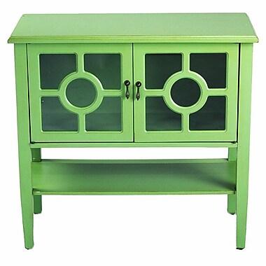 Heather Ann 2 Door Console Acccent Cabinet; Green