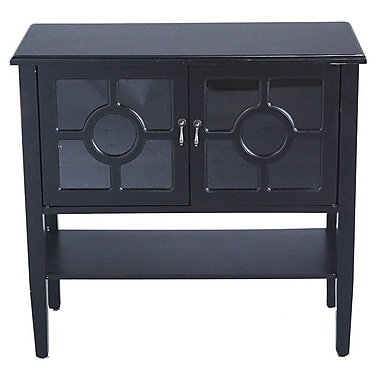 Heather Ann 2 Door Console Acccent Cabinet; Black