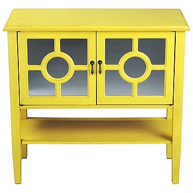Heather Ann 2 Door Console Acccent Cabinet; Yellow