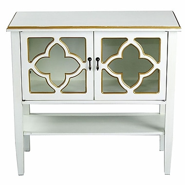 Heather Ann 2 Door Console Acccent Cabinet; Antique White/Gold