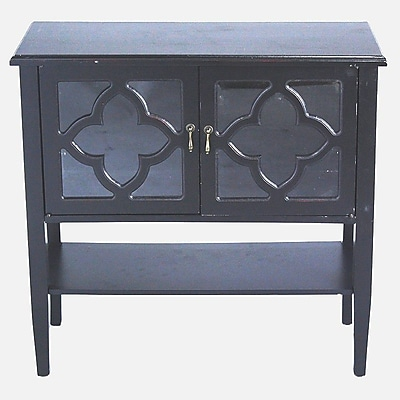 Heather Ann 2 Door Console Acccent Cabinet; Black