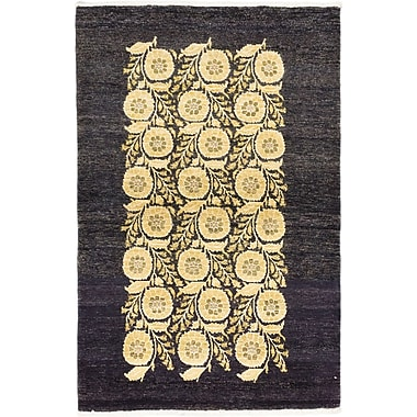 ECARPETGALLERY Peshawar Ziegler Hand-Knotted Black/Yellow Area Rug; 4' x 6'