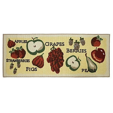 Structures Textured Loop Tossed Fruits Kitchen Area Rug; Rectangle 1'8'' x 4'