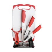 New England Cutlery 6 Piece Block Set; Red