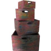 Asian Loft 4 Piece Wooden Nesting Crates Set