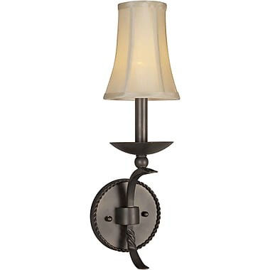 Forte Lighting 1-Light Wall Sconce w/ Fabric Shade in Antique Bronze