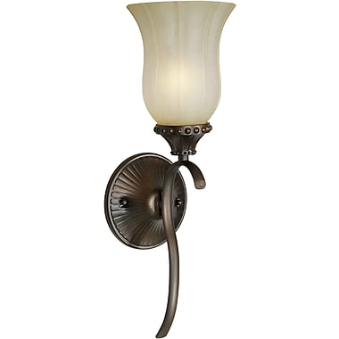 Forte Lighting 1-Light Wall Sconce w/ Umber Mist Shade in Antique Bronze