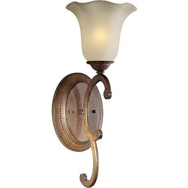 Forte Lighting 1-Light Wall Sconce w/ Umber Glass Shade in Rustic Sienna
