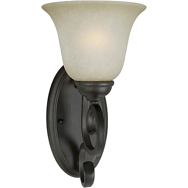 Forte Lighting 1-Light Wall Sconce w/ Umber Mist Shade in Bordeaux