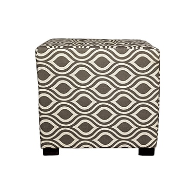 MJLFurniture Merton Nicole Square 4-Button Upholstered Ottoman; Brown/Gray