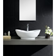 Fine Fixtures Modern Ceramic Oval Vessel Bathroom Sink w/ Overflow