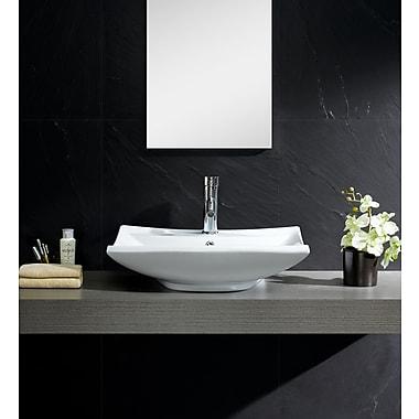 Fine Fixtures Modern Ceramic Rectangular Vessel Bathroom Sink w/ Overflow