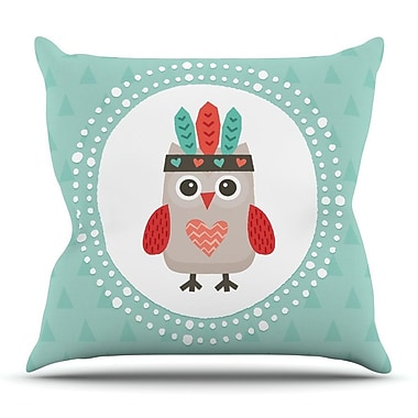 KESS InHouse Hipster Owlet Mint Coral by Daisy Beatrice Throw Pillow; 20'' H x 20'' W x 4'' D