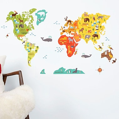 Petit Collage World Map Wall Decal