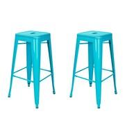 AdecoTrading 30'' Bar Stool (Set of 2); Crystal Blue