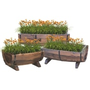 Quickway Imports 3-Piece Wood Pot Planter Set