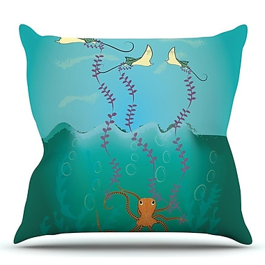 KESS InHouse Octopus Flying Manta Rays by Famenxt Throw Pillow; 16'' H x 16'' W x 3'' D