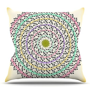 KESS InHouse Leafy Watercolor Mandala by Famenxt Throw Pillow; 18'' H x 18'' W x 3'' D