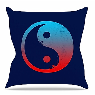 KESS InHouse Ying Yang Surfers by Frederic Levy-Hadida Throw Pillow; 16'' H x 16'' W x 3'' D