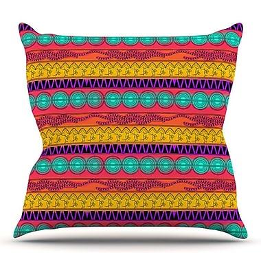 KESS InHouse Pattern Watercolor Colorful by Famenxt Throw Pillow; 18'' H x 18'' W x 3'' D