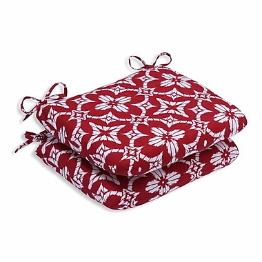 Pillow Perfect Aspidoras Outdoor Dining Chair Cushion (Set of 2); Apple - Red