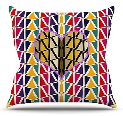 KESS InHouse Heart in Abstract Pattern by Famenxt Throw Pillow; 26'' H x 26'' W x 5'' D