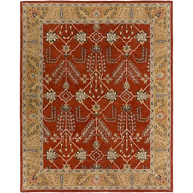 Artistic Weavers Middleton Kelly Hand-Crafted Bright Red/Metallic Gold Area Rug; Rectangle 8' x 10'