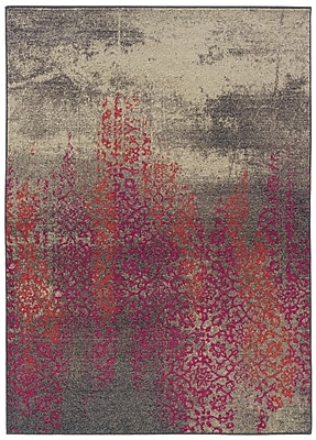 Bungalow Rose Terrell Gray/Pink Area Rug; 6'7'' x 9'1''