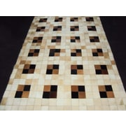 Modern Rugs Patchwork Neutral Box Area Rug; Square 6'