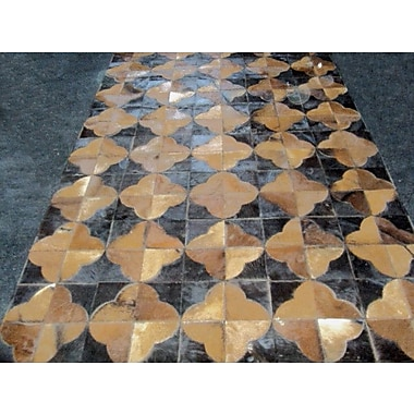 Modern Rugs Patchwork Leather Geo Brown Area Rug; Square 6'