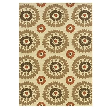 Winston Porter Savanah Hand-Tufted Ivory/Brown Outdoor Area Rug; 8' x 10'