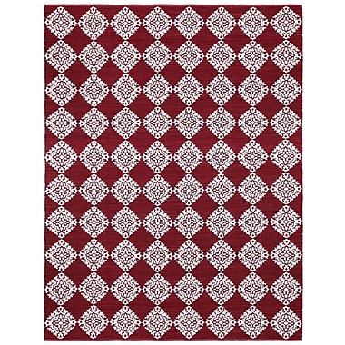 St. Croix Jacquard Hand-Woven Red Area Rug; 4' x 6'