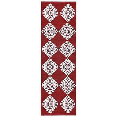 St. Croix Jacquard Hand-Woven Red Area Rug; Runner 2'6'' x 8'