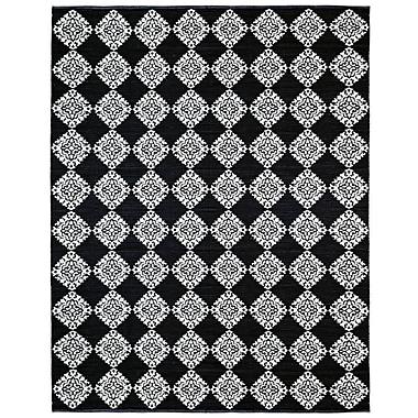 St. Croix Jacquard Handmade Black Area Rug; 4' x 6'