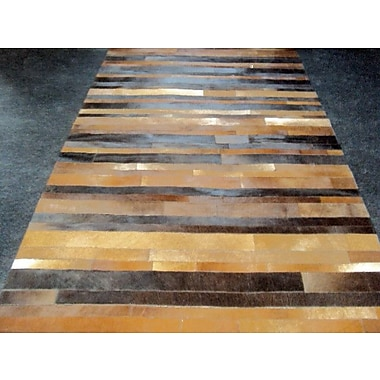 Modern Rugs Patchwork Leather Stripe Brown Area Rug; Rectangle 4'6'' x 7'