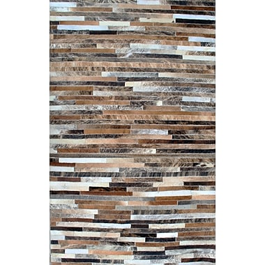 Modern Rugs Patchwork Stripe Brown Area Rug; Rectangle 3' x 5'
