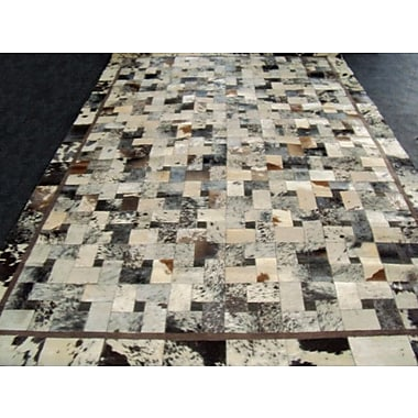 Modern Rugs Patchwork Bordered Salt/Pepper Area Rug; Rectangle 3' x 5'