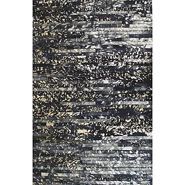 Modern Rugs Patchwork Galaxy Stripe Black Area Rug; Rectangle 3' x 5'