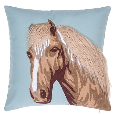 14 Karat Home Inc. Horse Crewel Stitch Cotton Throw Pillow