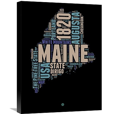 Naxart 'Maine Word Cloud 1' Textual Art on Wrapped Canvas; 24'' H x 18'' W x 1.5'' D