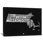 Naxart 'Massachusetts' Map Textual Art on Wrapped Canvas; 36'' H x 48'' W x 1.5'' D
