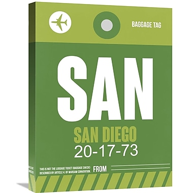 Naxart 'SAN San Diego Luggage Tag 2' Graphic Art on Wrapped Canvas; 32'' H x 24'' W x 1.5'' D