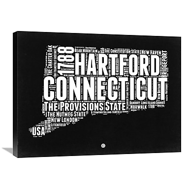 Naxart 'Connecticut Map' Textual Art on Wrapped Canvas; 24'' H x 32'' W x 1.5'' D