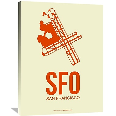 Naxart 'SFO San Francisco Poster 1' Graphic Art on Wrapped Canvas; 40'' H x 30'' W x 1.5'' D