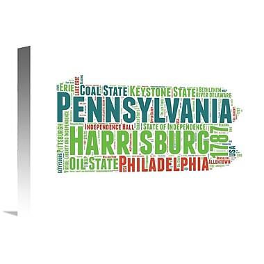 Naxart 'Pennsylvania Word Cloud Map' Textual Art on Wrapped Canvas; 12'' H x 16'' W x 1.5'' D