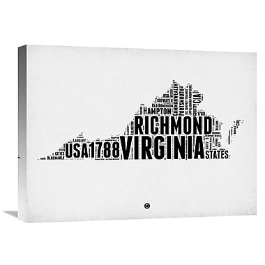 Naxart 'Virginia Word Cloud 2' Textual Art on Wrapped Canvas; 18'' H x 24'' W x 1.5'' D