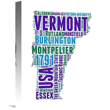 Naxart 'Vermont Word Cloud Map' Textual Art on Wrapped Canvas; 16'' H x 12'' W x 1.5'' D