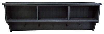 SawdustCity Storage Shelf w/ Cubbies and Pegs; Old Black