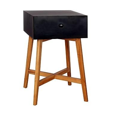 Porthos Home Julia End Table w/ Storage ; Black