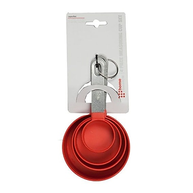 Home Basics 4 Piece Measuring Cup Set; Red
